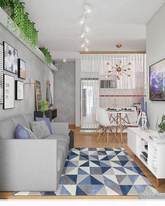 sala de estar combina blanco gris y azul cielo