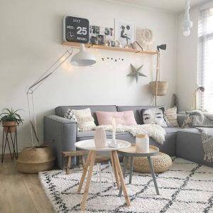 sala de estar pequeña pared blanca sillon gris