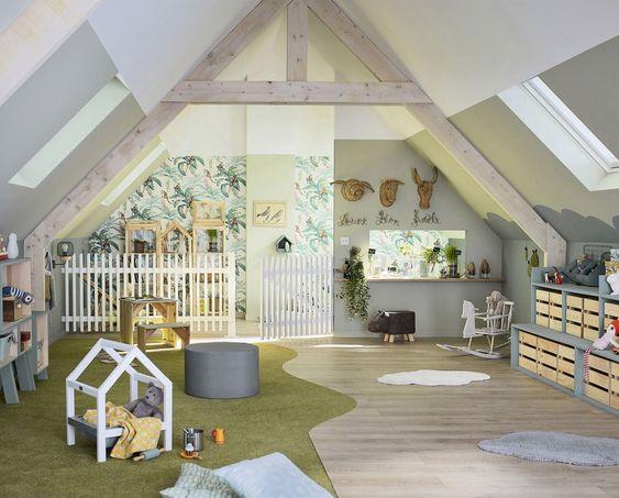 Sala de juegos infantil rustica moderna