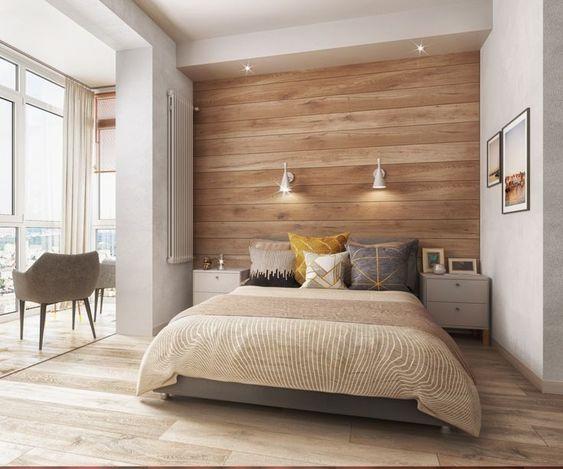 dormitorio moderno con piso flotante