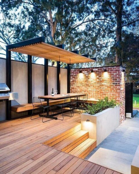 patio con deck de madera