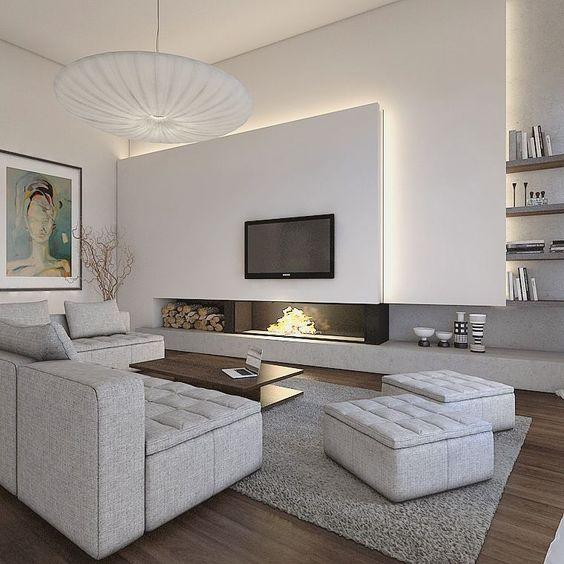 sala de estar moderna con piso flotantes oscuros