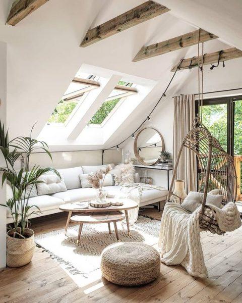 sala de estar moderna en el atico