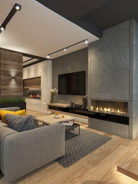 sala de estar pequeña con piso flotante