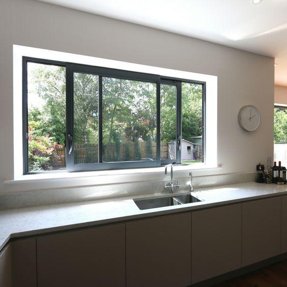 ventana corrediza moderna de aluminio