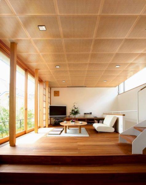 cielo raso con paneles acusticos de madera para casas