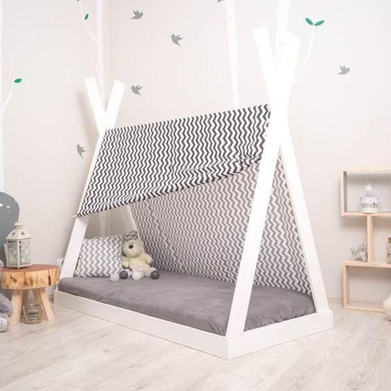 Cama estilo montessori para bebes en gris y blanco