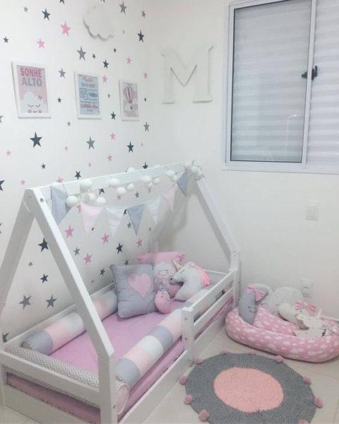 Cama estilo montessori para bebes niñas