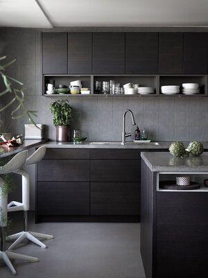 Cocina gris claro y oscuro