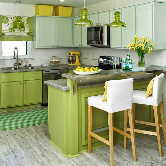 Cocina verde manzana moderna