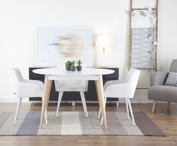Mesa de comedor redonda estilo escandinavo