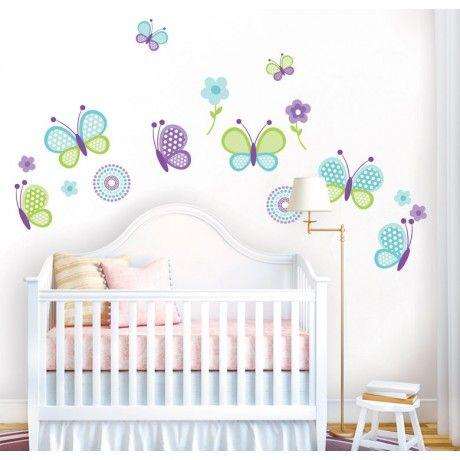 Vinilo para habitacion infantil con flores y mariposas