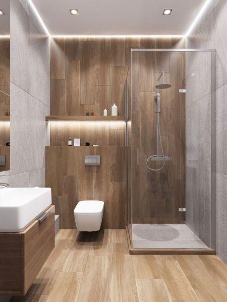 baño con creamicas rectangulares verticales