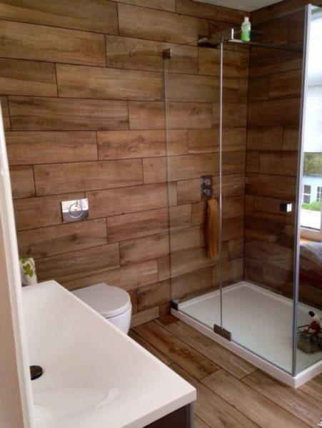 baño moderno rustico marron