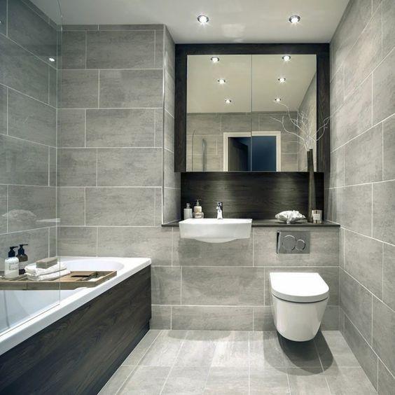 baños con ceramicos rectangulares
