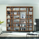 biblioteca de madera moderna minimalista