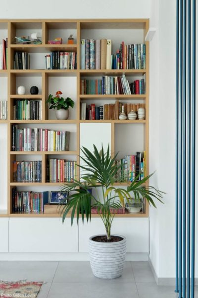 biblioteca empotrada para living moderno y minimalista