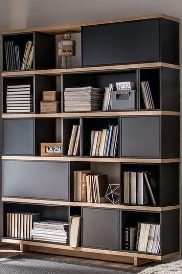 biblioteca moderna mdf gris