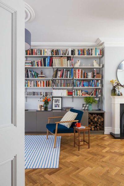 biblitoteca empotrada grande para living moderno
