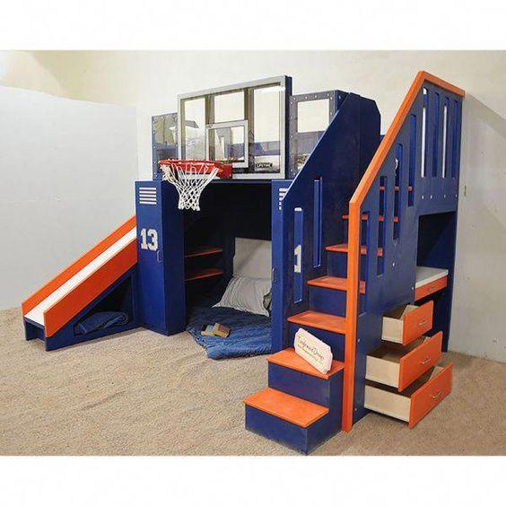 cama con aro de basquet