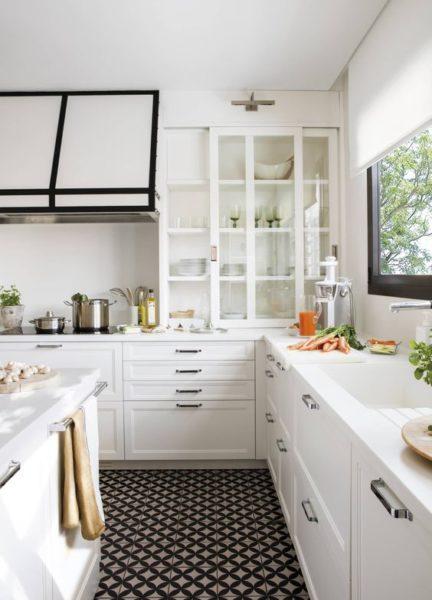 cocina blanca y negra