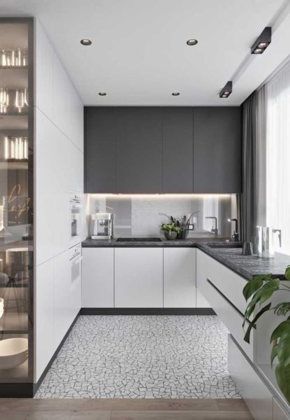 cocina pequeña blanca y gris