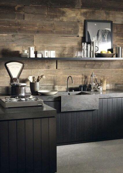 cocina rustica negra y madera