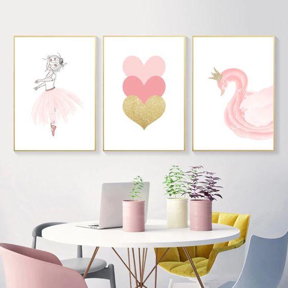 cuadros para decorar paredes de dormitorios infantiles de nenas