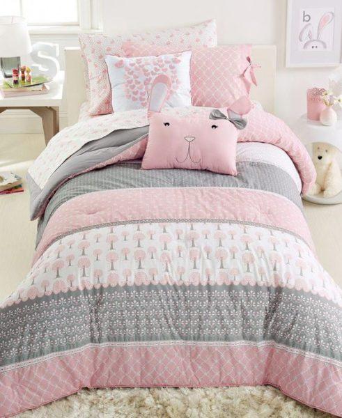 cubrecama rosa y gris para niñas