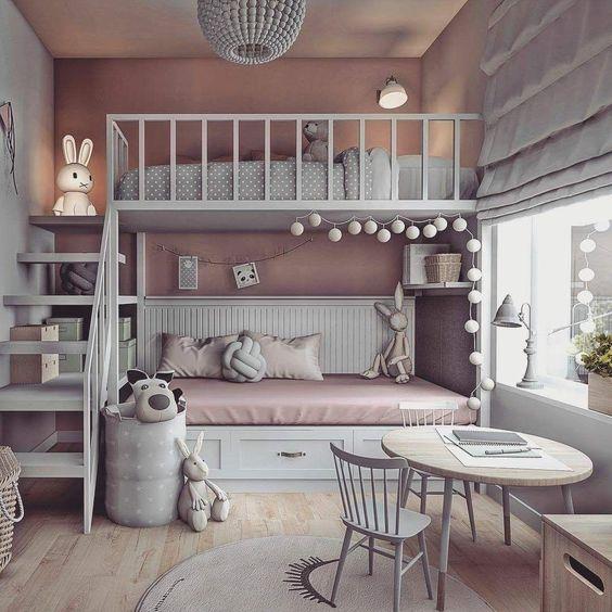 dormitorio elegante y moderno para nena