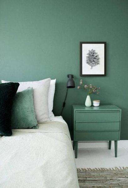 dormitorio moderno Verde azulado y blanco