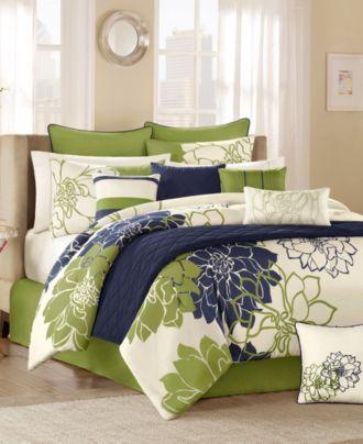 dormitorio moderno Verde manzana blanco y azul oscuro