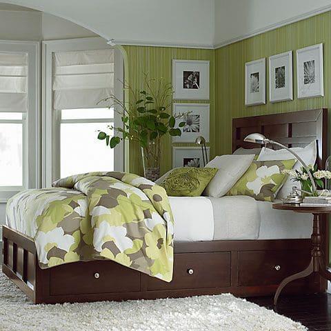 dormitorio moderno Verde manzana blanco y marron