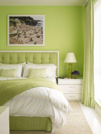 dormitorio moderno Verde manzana y blanco