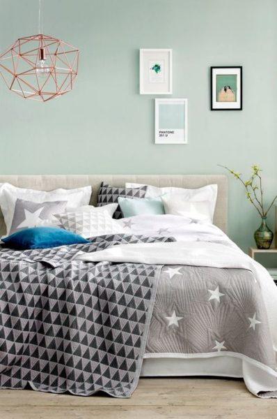 dormitorio moderno Verde menta y gris