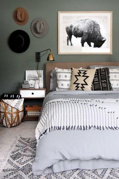dormitorio moderno Verde oliva y gris