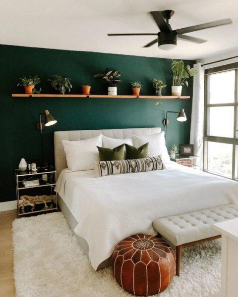 dormitorio moderno Verde oscuro y blanco