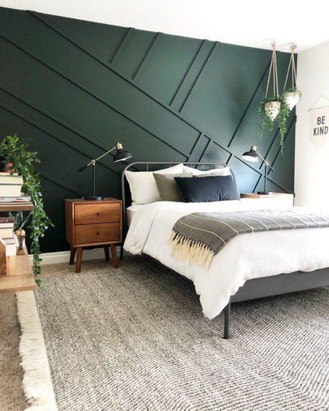 dormitorio moderno Verde oscuro y gris