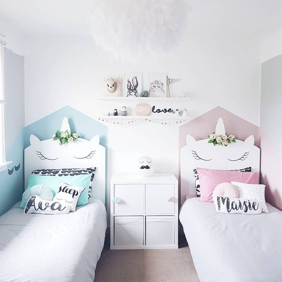 dormitorio pequeño para nenas de unicornio