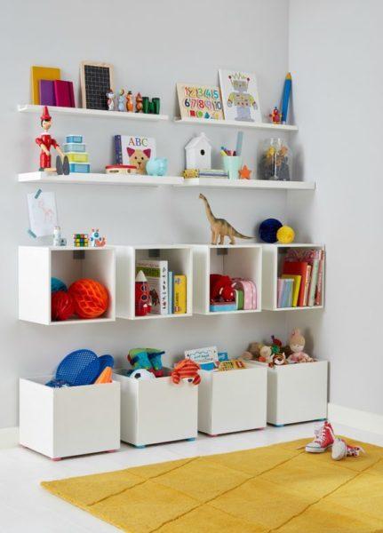 estanteria y cajones para guardar juguetes