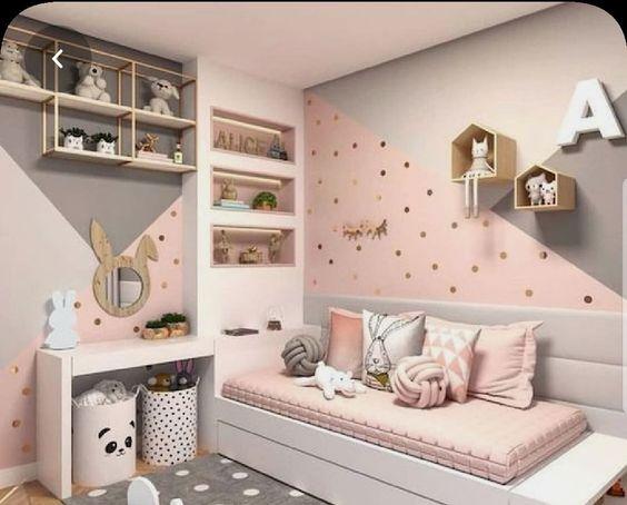 habitacion para nenas con rosa gris y blanco
