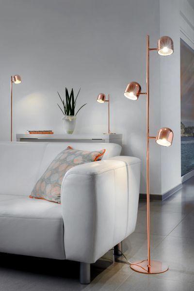 lampara de pie moderna cromada bronce
