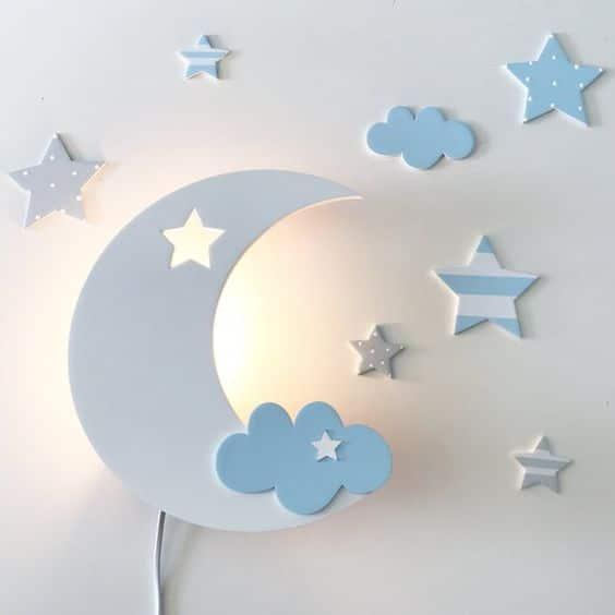 lampara infantil para pared con luz suave para dormir forma de luna
