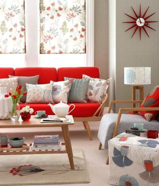 living gris claro con rojo moderno estilo retro