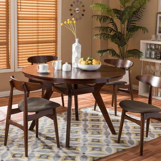 mesa de comedor pequeña redonda retro
