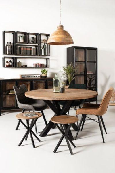 mesa de comedor redondas de madera y hierro