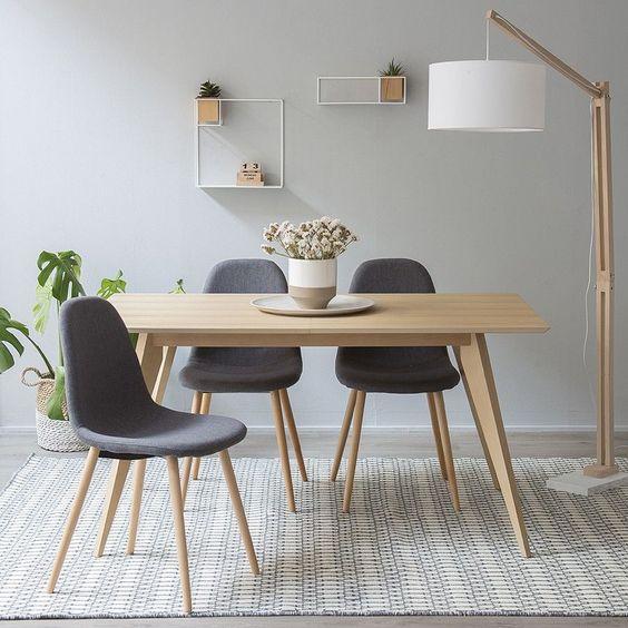 mesa rectangular estilo escandinavo