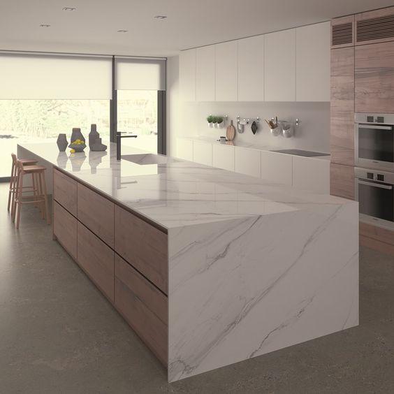 mesada de marmo moderna para cocina grande