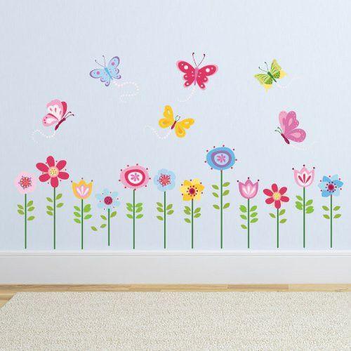 pegatina con flores y mariposas
