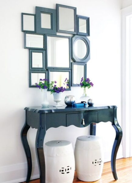 uebles antiguos restaurados pintados de azul